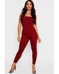 2978a30fbf7393 Boohoo High Waisted Leather Look Leggings in Red - Lyst