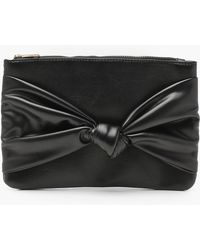 Boohoo - Georgie Large Bow Ziptop Clutch - Lyst