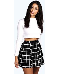 Boohoo - Check Textured Box Pleat Skater Skirt - Lyst