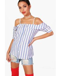 Boohoo - Cold Shoulder Striped Shirt - Lyst