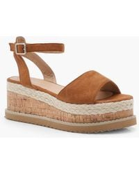 Boohoo - Ankle Strap Espadrille Flatforms - Lyst