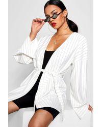 Boohoo - Pinstripe Kimono Sleeve Belted Duster Jacket - Lyst