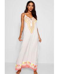 Boohoo - Embroidered Beach Maxi Dress - Lyst
