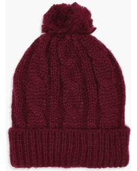 Boohoo - Cable Knit Pom Beanie - Lyst