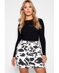 Boohoo - Plus Cow Print Denim Skirt - Lyst