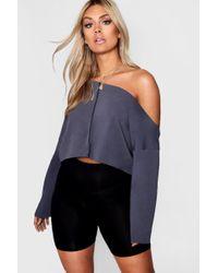 Boohoo - Plus Off Shoulder Tonal Sweater - Lyst