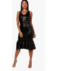 Boohoo Sequin Strappy Square Neck Midi Dress in Black - Lyst fccd4b6c6