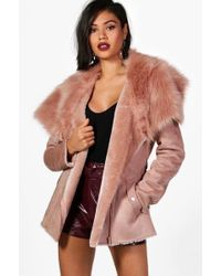 Boohoo - Faye Boutique Faux Fur Collar Belted Jacket - Lyst