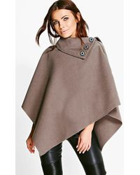 Boohoo - Cape With Buttons - Lyst