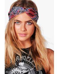 Boohoo - Isabelle Multi Colour Aztec Print Turban Headband - Lyst