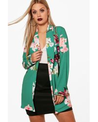 Boohoo | Plus Holly Oriental Belted Blazer | Lyst