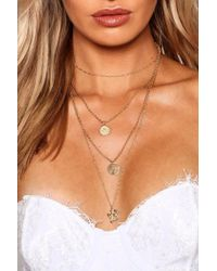 Boohoo - Cross Sovereign Layered Necklace - Lyst