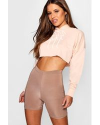 Boohoo - Petite Woman Slogan Cropped Hooded Sweat Top - Lyst