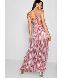 Boohoo - Sage Metallic Stripe Double Split Maxi Dress - Lyst
