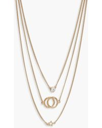 Boohoo - Linked Circle Layered Necklace - Lyst