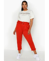 Boohoo Plus Belted Paper Bag Waist Trouser - Red
