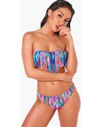 Boohoo - Fringed Bandeau Bikini - Lyst