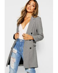 Boohoo Womens Dogtooth Double Breasted Blazer - Black - 4