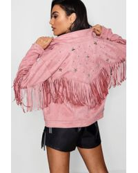 Boohoo - Fringe Suedette Jacket With Star Studs - Lyst