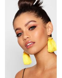 Boohoo - Lily Statement Floral Detail Tassel Earrings - Lyst