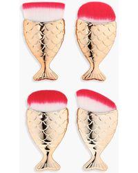 Boohoo - 4 Piece Gold Mermaid Brush Set - Lyst