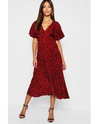 Boohoo - Leopard Print Ruffle Angel Sleeve Midi Dress - Lyst