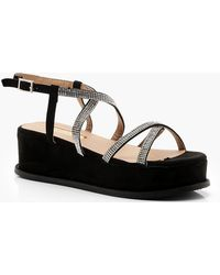 023e212eb698 Boohoo Diamante Cross Strap Flatform Sliders in Metallic - Lyst