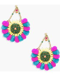 Boohoo - Pom Pom & Bead Statement Earrings - Lyst