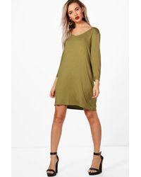 Boohoo - V Neck T-shirt Shift Dress - Lyst