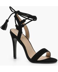 Boohoo - Lacey Wrap Strap Detail Barely There Sandals - Lyst