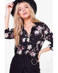 Boohoo - Darcy Dark Floral Woven Shirt - Lyst