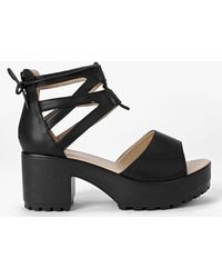 f35b0ca934a Lyst - Boohoo Amy Lace Up Two Part Cleated Sandal in Black