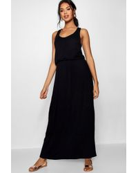 e4c0d4705459f Boohoo Racer Front Basic Jersey Maxi Dress in Black - Lyst