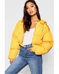 Boohoo - Crop Hooded Puffer Jacket - Lyst
