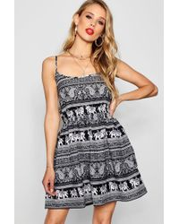 e98af34fb5c5 Boohoo Lorete Elephant Print Open Shoulder Dress - Lyst