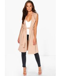 Boohoo - Sleeveless Belted Duster - Lyst