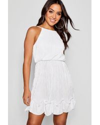 Boohoo - Pleated Detail Skater Dress - Lyst