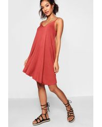 Boohoo - Evron Basic V Neck Swing Dress - Lyst