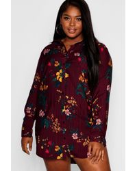 Boohoo - Plus Striped Floral Shirt Dress - Lyst