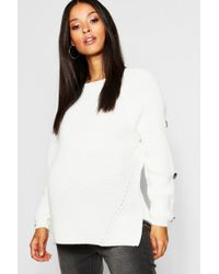 cc69aecfd4e76 Boohoo Chunky Cable Knit Balloon Sleeve Jumper in White - Lyst