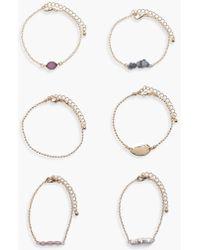 Boohoo - Emily Stone Detail Bracelet 6pk - Lyst