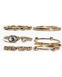 Boohoo - Grace Mixed Detail Ring Pack - Lyst