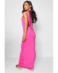 Boohoo - Knot Back Jersey Maxi Dress - Lyst