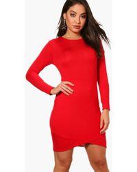 Boohoo - Nuala Long Sleeved Wrap Front Bodycon Dress - Lyst