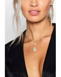 Boohoo - Holographic Sovereign Layered Necklace - Lyst