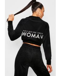 Boohoo - Velour Woman Embroidered Sweat Top - Lyst