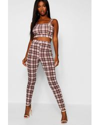 Boohoo - Knitted Check Print Gold Button Set - Lyst