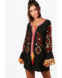 Boohoo - Petite Embroidered Sleeve Dress - Lyst