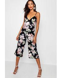 Boohoo - Floral Wrap Around Jumpsuit - Lyst