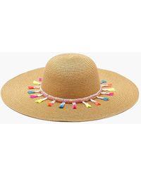 Boohoo - Jodie Bright Tassel Straw Floppy Hat - Lyst